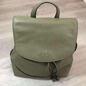 Coach Light Clover Green Pebbled Leather Backpack